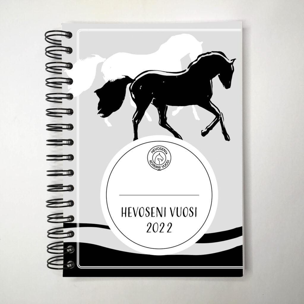 Hevoseni vuosi -kalenterin mustavalkoinen kansi