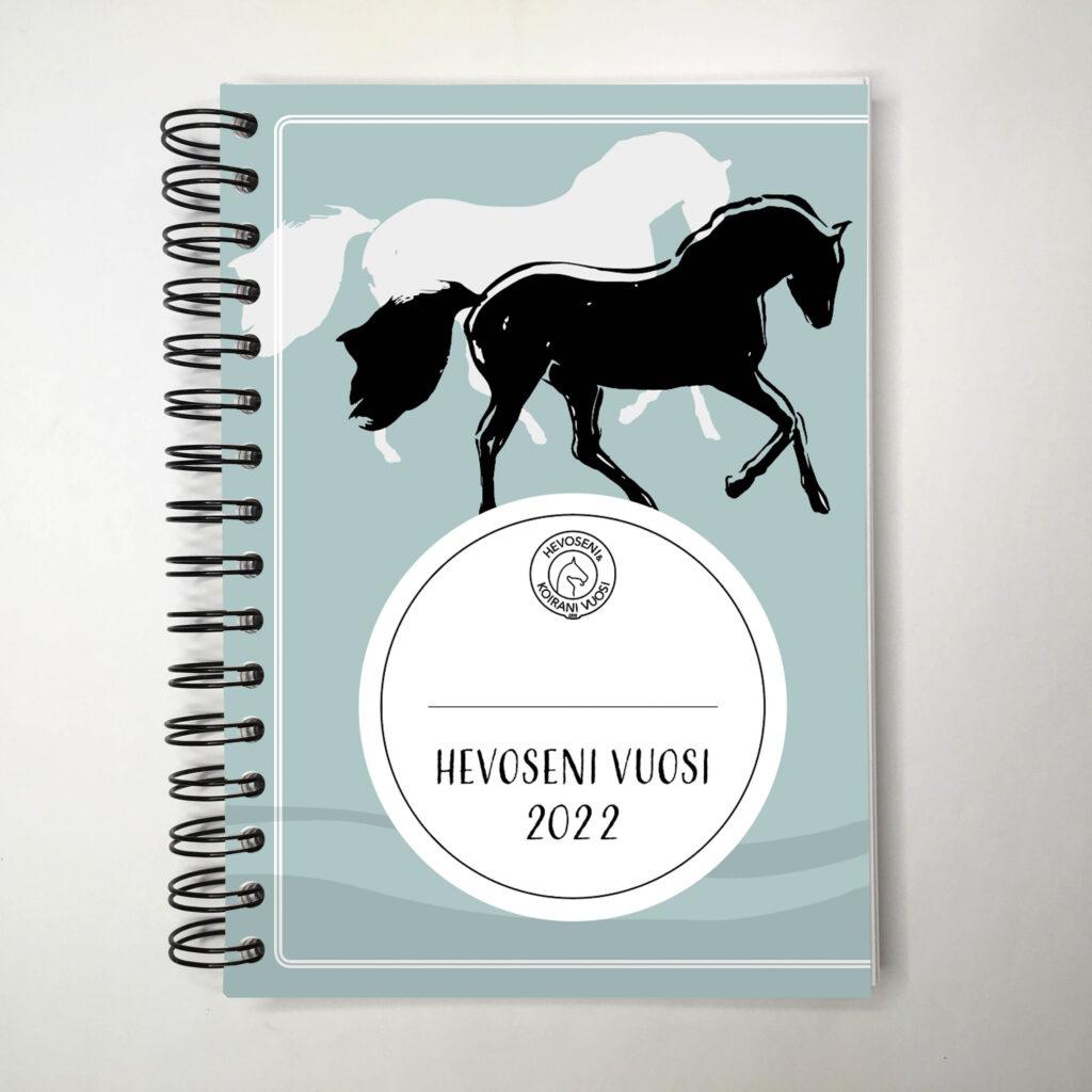 Hevoseni vuosi -kalenterin petroolin värinen kansi